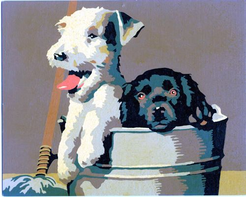 """Testors """"Playful Puppies"""" Paint-by-Number"""