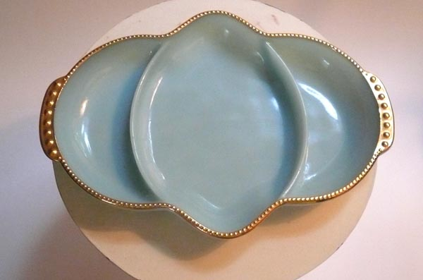 Vintage Fire King Turquoise Divided Dish Gold Trim Milk Glass