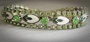 Vintage Weiss Green Rhinestone and Enamel Bracelet