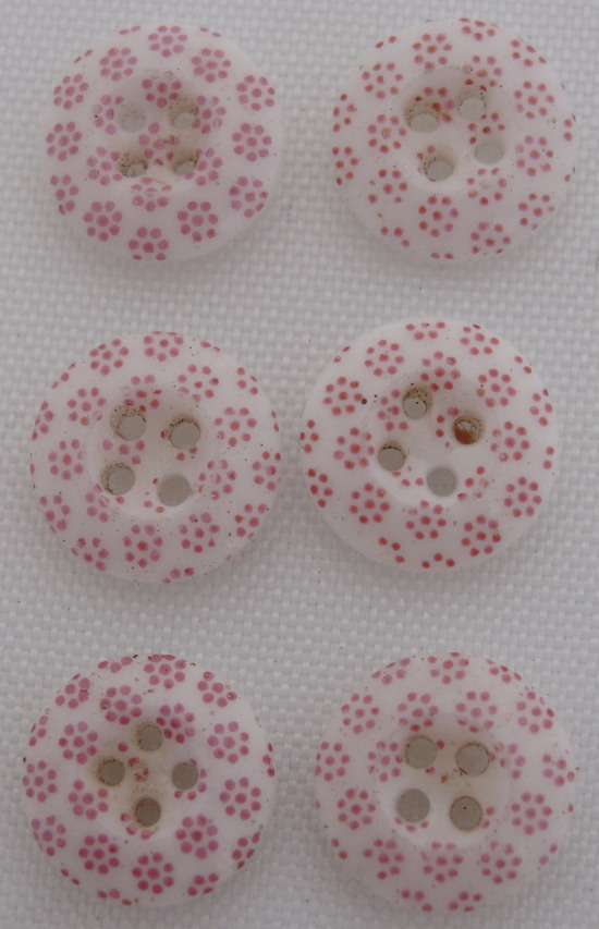 6 Vintage China Calico Pink Buttons