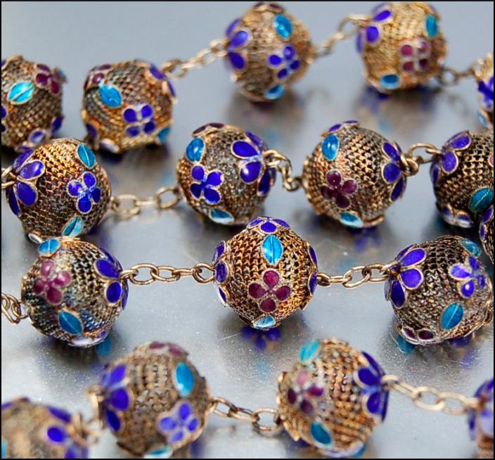 Chinese Silver Enamel Art Deco Necklace Antique Cobalt Purple Turquoise Filigree