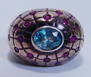 $980 Huge 15.9gr Topaz Ruby 14K Rose Gold Ring