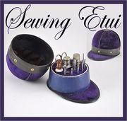 Sewing Etui Jockey Hat in Regal Purple Velvet With Tambour Tools