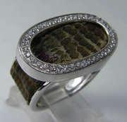DESIGNER HOMERO 18K GOLD GENUINE SNAKE SKIN DIAMOND LARGE RING