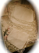 Vintage Linen Coaster Set of 6