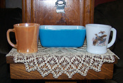 Blue pyrex and cups