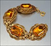 Czech Art Deco Bracelet Amber Glass Gold Gilt Filigree