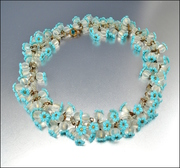 Art Deco Crystal Glass Celluloid Turquoise Fringe Necklace