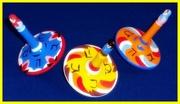 Lot of 3 Vintage Handmade spinning top Dreidels