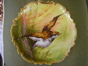 FRENCH LIMOGES CORONET GAME PLATE,H.P. ARTIST SIGNED