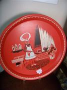 Vintage BBQ tin round red chef grill