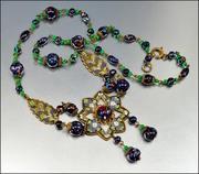 Blue Harlequin Glass Bead Enamel Czech Art Deco Necklace