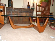 Old steamer trunk,1930's rocking chair,Kidney shaped table