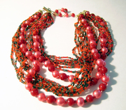 Multi Strand Necklace Seed Bead Faux Pearl Japan