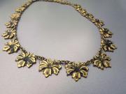 Antique Gold Flower Necklace
