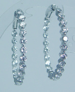Estate Jewelry 18K White Gold Inside Out Diamond Earrings Hoops 2.94cts VVS-GH 1 3/16in