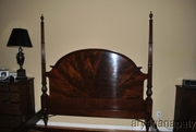 King Size Flaming Mahogany Federal Style Poster Bed, Kingsize