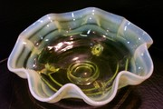 Fenton Opalescent Vaseline Glass #100 Ringed Bowl