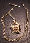 Antique 14k Mason's Watch Fob w/ gold filled chain