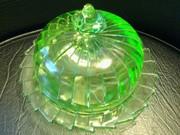 """Jeanette Glass Sierra """"Pinwheel"""" covered butter dish"""