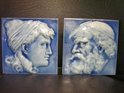 J.G. & J.F. Low Art Tile Yarmulke Man & Classic Lady