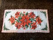 Vintage Christmas Table Runner Poinsettia