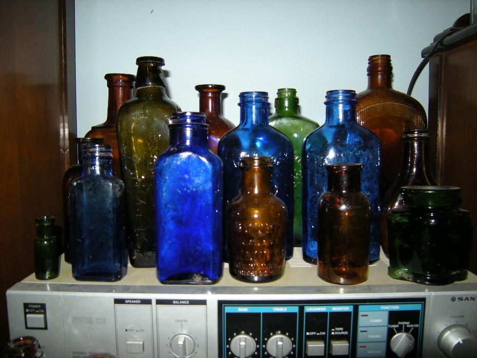 Old colored bottles