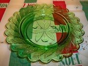 Vintage Wreathed Cherry Green Glass Butter Dish Candy Dish