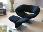Pierre Paulin designer chairs with foot stool