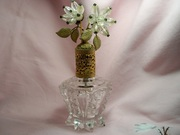 Vintage 1950s Floral Beaded Perfume Bottle