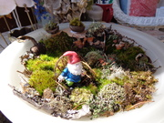 gnome garden terrarium ByLightOfMoon dish lamp recycled moss