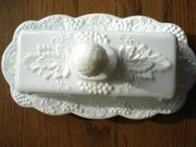 Milk Glas Paneled Grape Butter Dish