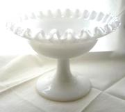 Milk Glass Silver Crest Dish