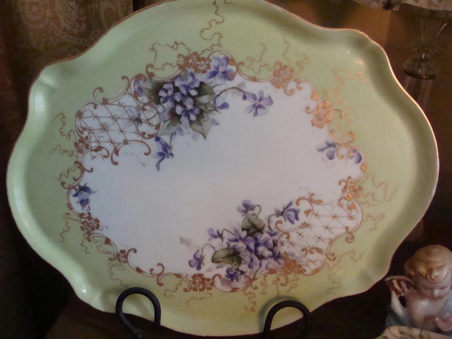 Limoges Handpainted Dresser Tray - Sweet Purple Violets