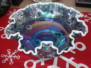 Blue Carnival Glass Bowl with White Rim