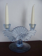 Blue Glass Double Candle