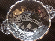 New Martinsville / Viking Glass Janice Pattern SIlver Overlay 25th Anniversary Bowl