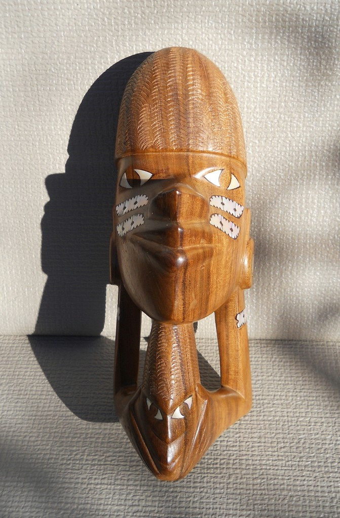 Tiki Polynesian Carved Wood Head Abalone Inset Decoration