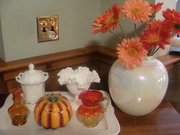 Milk Glass and Amberina glass - Vintage glass for Fall