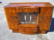 1930's Burl Walnut Openfront Cocktail Cabinet / Bar