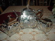 Silver Plated Tea Pot, Covered Sugar Bowl and Creamer