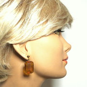 Vintage large topaz glass earrings for pierced ears