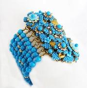 J-3659 Stanley Hagler Ian St Gielar Denim Blue Wide Bracelet