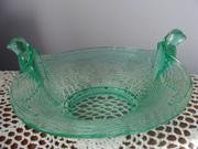 Fenton Green Glass Bird Bowl