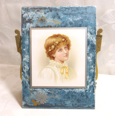 Antique Victorian self frame self easel lady lithograph