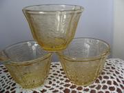 Amber Depression glass Jello Cups