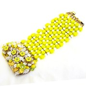 J-3630 Stanley Hagler Ian St Gielar Yellow 10 Row Wide Bracelet