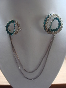 Sterling Silver  Rhinestone Scatter Brooches on Chains
