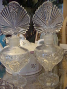 Pair of Large Glass Perfume Bottles with Fancy Stoppers
