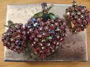 Signed ART vintage AB Rhinestones Strawberries Brooch and Earrings